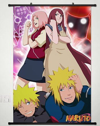 Wall Scroll Poster Fabric Painting For Anime Naruto Uzumaki Naruto & Namikaze Minato &