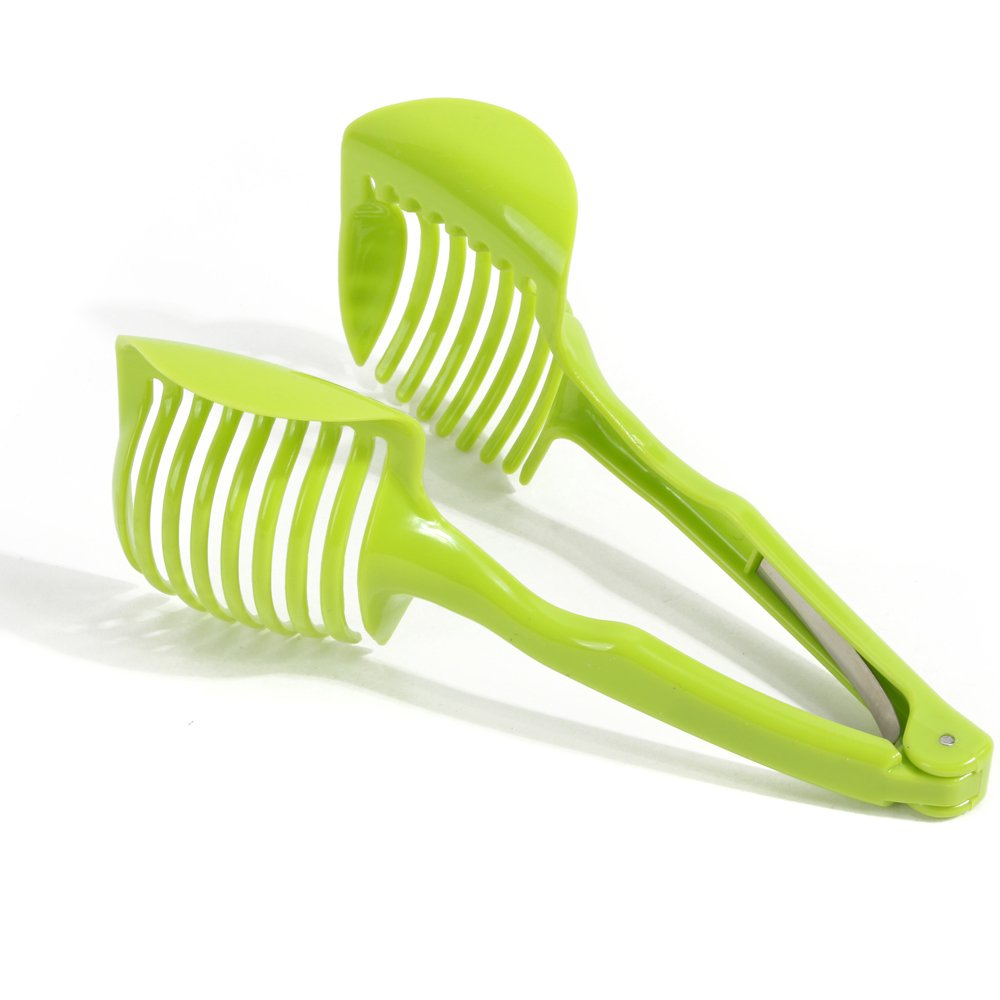 Best Utensils Tomato Slicer Lemon Cutter Multipurpose Handheld Round Fruit Tongs ABS Plastic Onion Holder Easy Slicing Fruits & Vegetable Tools Kitchen Cutting Aid Gadgets Tool (Green) China