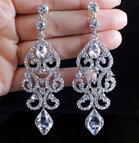 Blue Austrian Crystal Rhinestone (Janefashions Large Sexy Austrian Crystal Rhinestone Chandelier Dangle Earrings Bridal E2084 Blue or White)