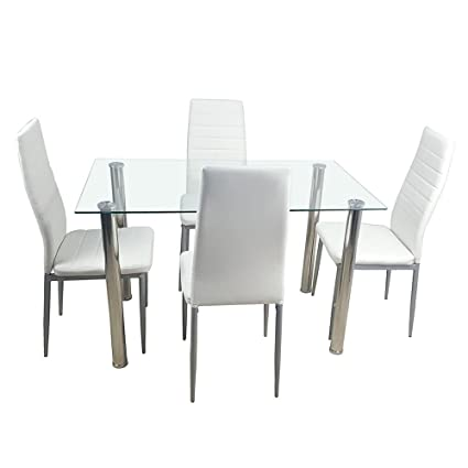 Amazoncom Luckyshop 5 Piece Dining Table Set With 4 Chairs Glass