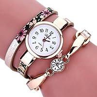Las mujeres relojes mosunx (TM) Nueva Chica De Moda Relojes Diamond Wrap Alrededor De Polipiel cuarzo muñeca reloj novia regalo, Caqui