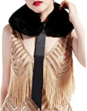 BABEYOND 1920s Faux Fur Collar Wrap Bolero Gatsby Inspired Faux fur Cape Flapper Scarf with Satin Tie for 20s Costume Party