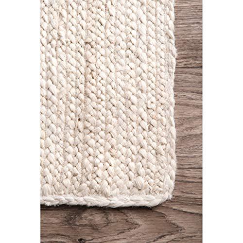nuLOOM Rigo Hand Woven Jute Area Rug, 8' x 10', Off-white