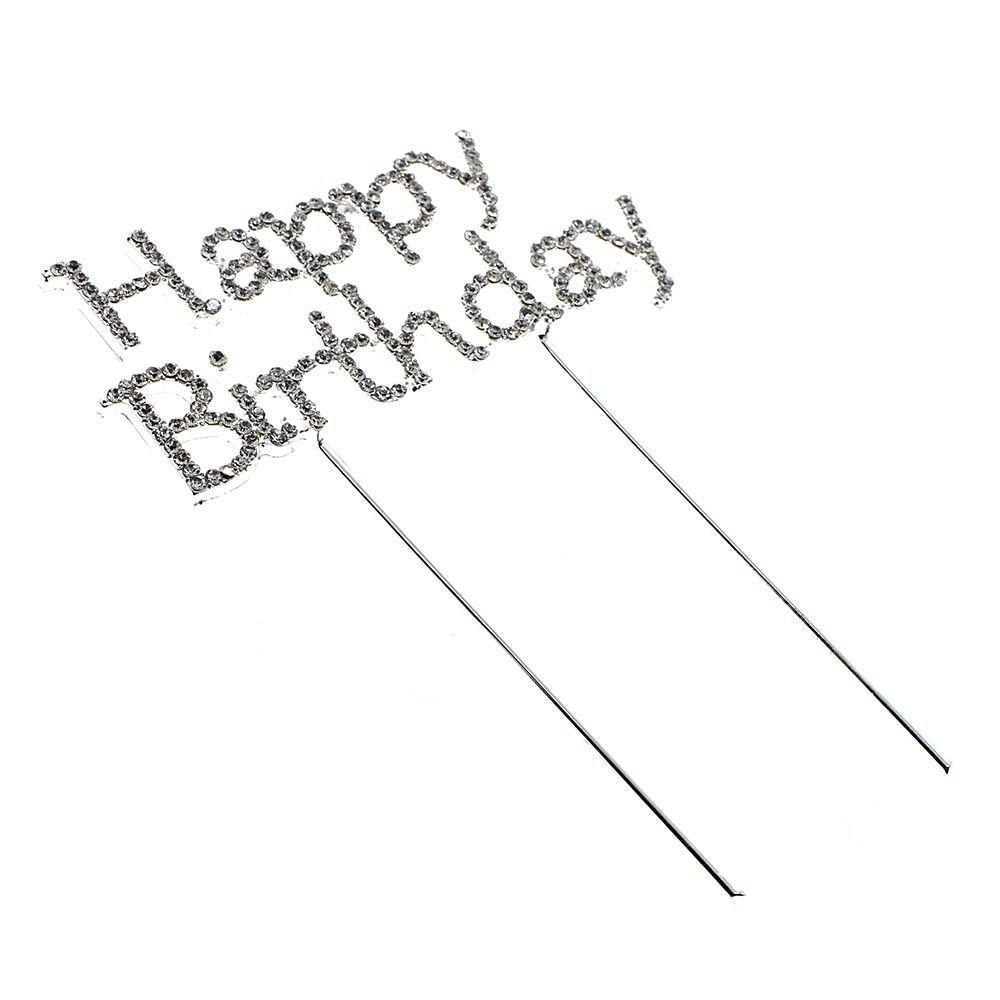 Decoración para tarta para HuaYang con piedras de cristal brillantes Sparkle cumpleaños feliz aniversario decoración