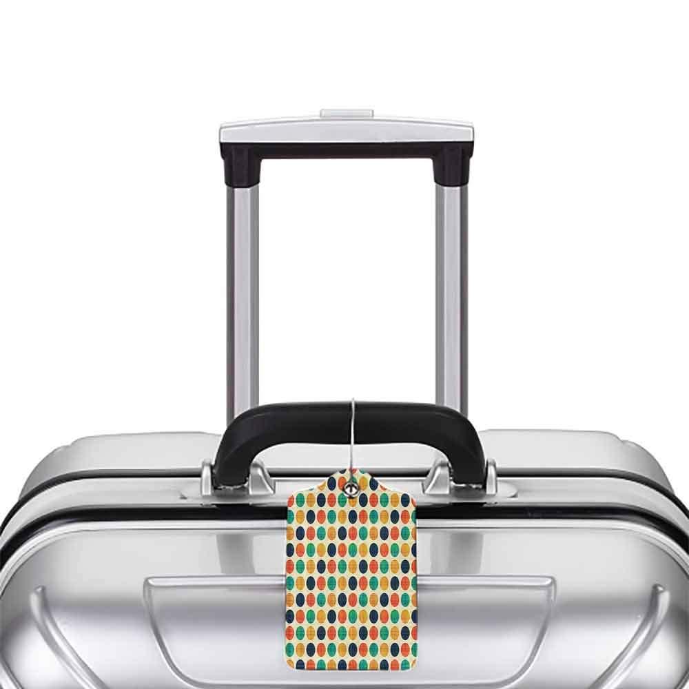 Decorative luggage tag Polka Dots Home Decor Collection Polka Dots in Nostalgic Funky Vibrant Colors Decimal Points Flecks Boho Illustration Suitable for travel Multi W2.7 x L4.6