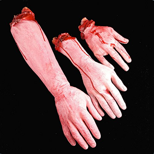 Arm Body Parts (Dealglad Horror Bloody Realistic Fake Severed Arm Broken Hand Foot Legs Body Parts Prank Trick April Fool Halloween Party Props (3pcs Blood Hand))