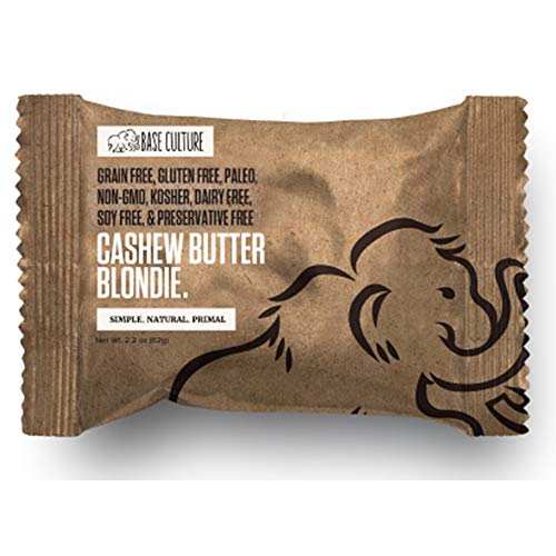Paleo Brownie Cashew Butter Blondie | All Natural 100% Paleo, Gluten, Grain, Dairy, and Soy Free & No Preservatives (6g Protein per Serving, 10 Count)
