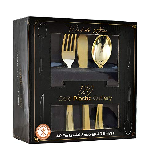 120 Gold Plastic Silverware  Plastic Silverware   Extra Heavy Disposable Cutlery  40 Plastic Forks, 40 Plastic Spoon, 40 Plastic Knives