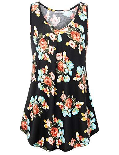 Youtalia Sleeveless Shirts for Women, Ladies Tunic Tank Tops Fashion Floral Print Sleeveless V Neck Blouses Pleats Casual Tank Tunics MBK X-Large