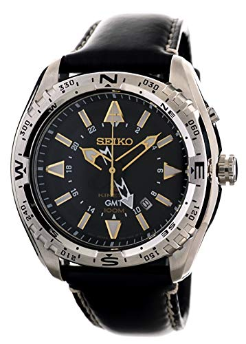 Seiko Mens Kinetic GMT Sports 100M  Watch with Black Calf Leather SUN053P1 (Seiko Sportura Kinetic Gmt)