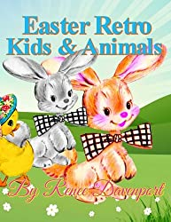 Easter Retro Kids & Animals: Grayscale Adult Coloring Book