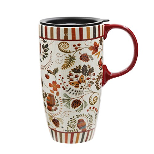 Topadorn 17 oz Tall Ceramic Travel Mug Coffee Cup with Sealed Lid,Flower