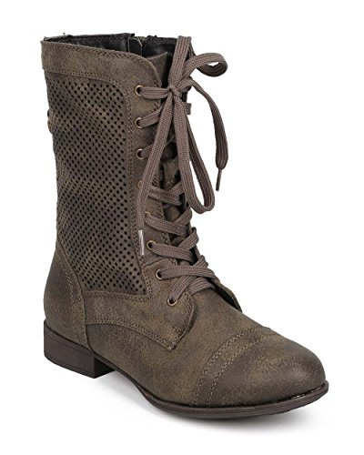 Liliana DD16 Women Distressed Leatherette Perforated Cap Toe Zip Military Boot - Olive 9W0DRhwuw