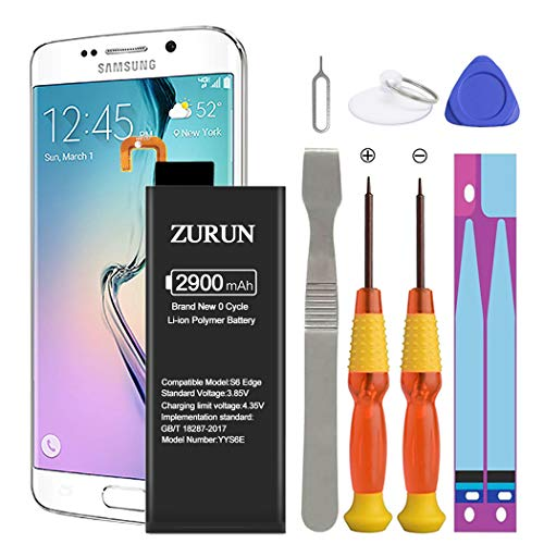 Galaxy S6 Edge Battery ZURUN 2900mAh Li-Polymer Battery EB-BG925ABE Replacement for Samsung Galaxy S6 Edge SM-G925 G925V G925A G925T G925P G925R4 with Screwdriver Tool Kit [2 Year Warranty] (Samsung Galaxy S6 Edge Won T Charge)