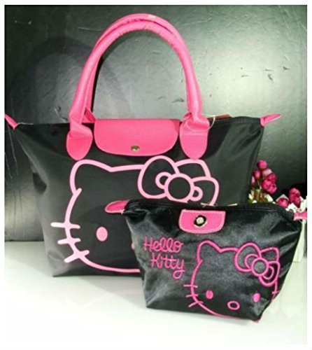 BLACK-NEW-HELLOKITTY-HAND-BAG-PURSE-BAG-WITH-MAKE-UP-COSMETIC-BAG
