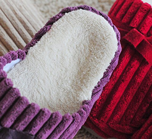 Zapatillas De Casa Bronze Times (tm), Unisex Coral Fleece Indoor Cotton Flats Gris