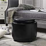 Safavieh Hudson Collection Chloe Leather Single Tray Round Storage Ottoman, Black For Sale