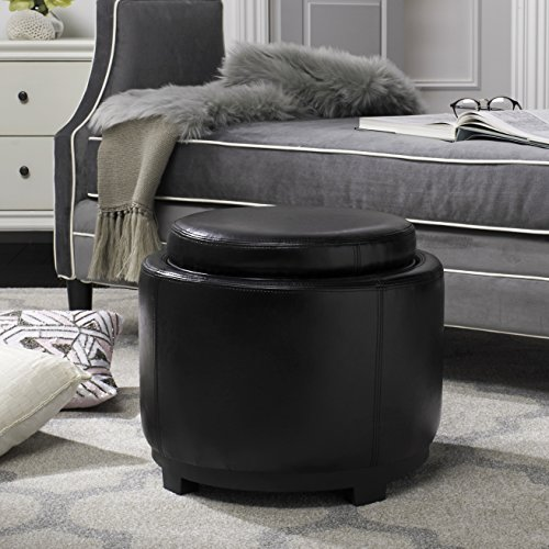 (Safavieh Hudson Collection Chloe Leather Single Tray Round Storage Ottoman, Black)
