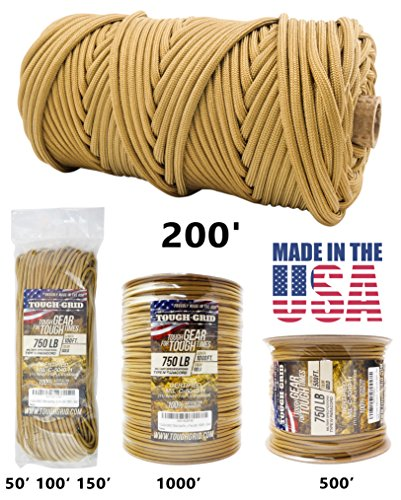 TOUGH-GRID 750lb Gold Paracord / Parachute Cord - Genuine Mil Spec Type IV 750lb Paracord Used by the US Military (MIl-C-5040-H) - 100% Nylon - Made In The USA. 50Ft. - Gold