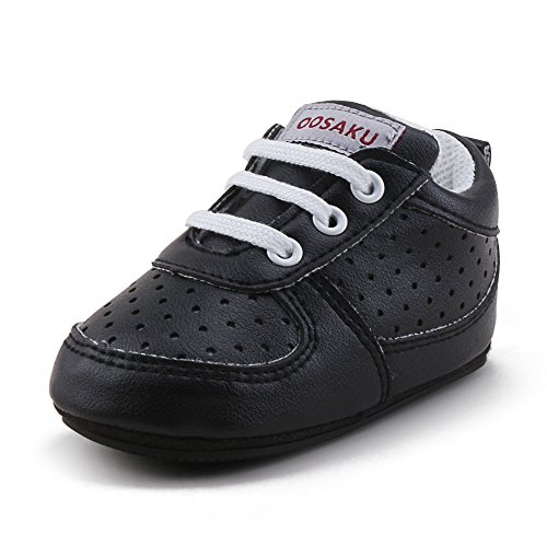 OOSAKU Baby Non-Slip First Walking Shoes Fashion Breathable Rubber Sole Sneaker (6-12 Months, Black) by OOSAKU