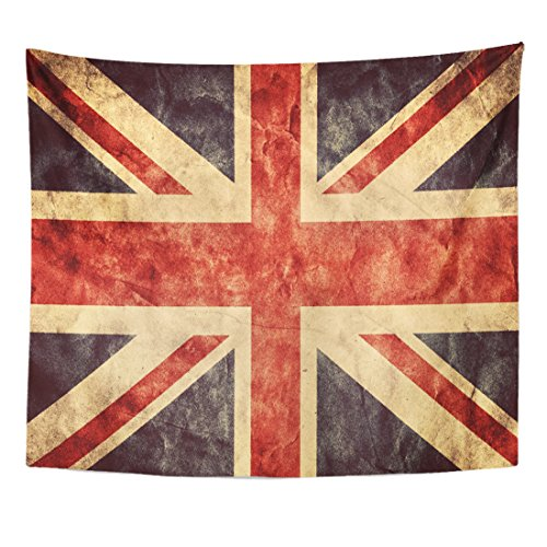 Breezat Tapestry the United Kingdom Union Jack Grunge Flag Vintage Retro Style High Resolution Hd Item From My Collection Home Decor Wall Hanging for Living Room Bedroom Dorm 50x60 Inches (Union History Jack Flag)
