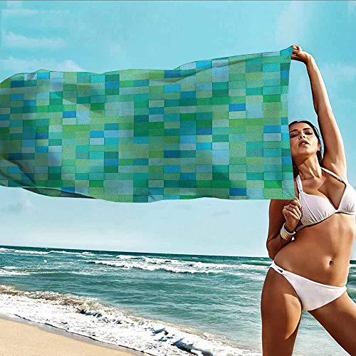 - TT.HOME Beach Bath Towel,Teal 3D Cube Pattern Abstract Squares Vibrant Colored Geometric Shapes Design Modern,Absorbent Soft Washcloth,W40x20L, Sea Green Blue