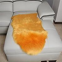 FELALA Luxury Soft Faux Sheepskin Chair Cover Seat Cushion Pad Plush Fur Area Rugs Bedroom, 2ft x 3ft, Orange
