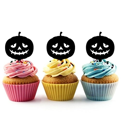 TA0491 Halloween Pumpkin Silhouette Party Wedding Birthday Acrylic Cupcake Toppers Decor 10 pcs ()