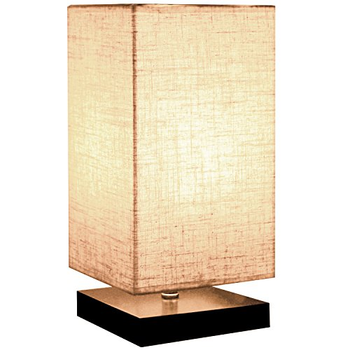 Minerva Wood Table Lamp - Solid Fabric Shade Bedside Desk Lamps for Bedroom, Living Room, Study (Square) (Table Lamps For Living Rooms)