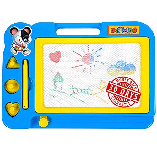 WOLF-M Magnetic Drawing Board, for Boys, Girls, 10.6 x 7.9 in (Blue, Non-Toxic Plastic) - Perfect for Party, Travel. Erasable Slider to Etch a Sketch.