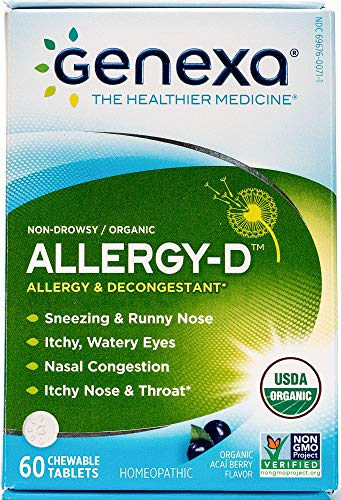 Genexa Homeopathic Allergy Medicine: Certified Organic, Physician Formulated, Natural, Non-Drowsy, Non-GMO Verified Decongestant. Helps Provide Seasonal Allergy Relief (60 Chewable Tablets) by Genexa