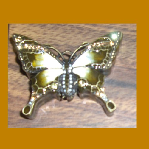 Amber/olive Green Jeweled Butterfly Jewelry Box ()