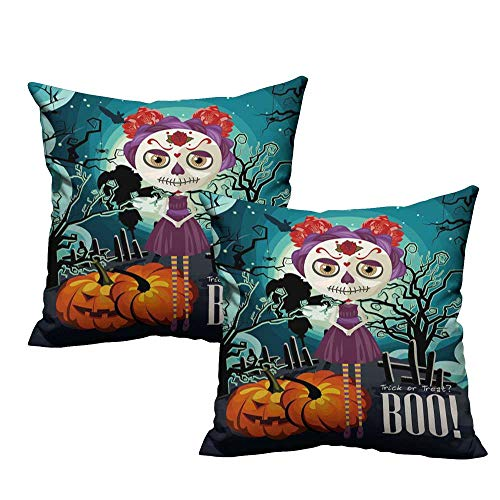 WinfreyDecor Fashion Pillowcase Halloween Cartoon Girl with Sugar Skull Makeup Retro Seasonal Artwork Swirled Trees Boo Anti-Fading W14 x L14 Multicolor -