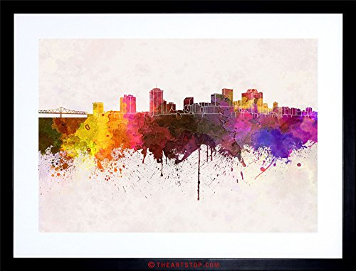 New Orleans Framed Photograph (PAINTING CITYSCAPE NEW ORLEANS SKYLINE PAINT SPLASH FRAMED PRINT F97X4500)