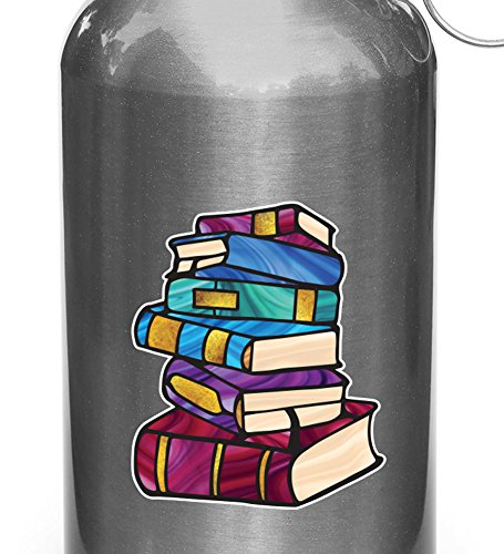 """Books - Stack Of Books - Library - Stained Glass Style Opaque Vinyl Water Bottle Decal - Copyright 2015 Yadda-Yadda Design Co. (SM 2.5""""w x 3""""h)"""