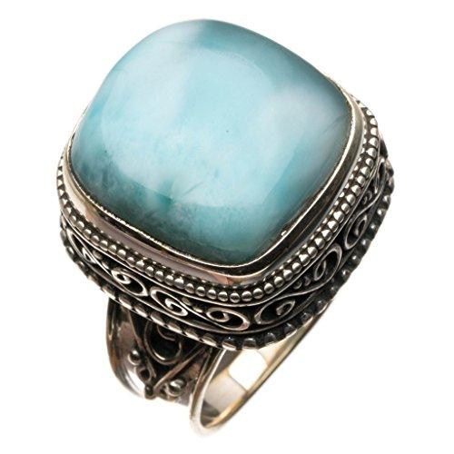 (Natural Caribbean Larimar Vintage 925 Sterling Silver Ring, US Size 8.25 R3401)