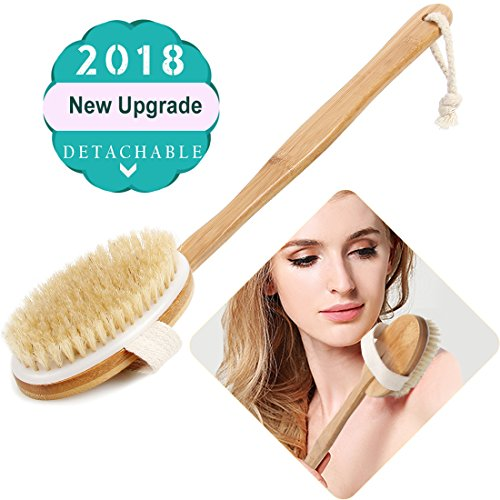 Bath Body Brush & Shower,Dry Skin Brushing with 100% Natural Boar Bristles & 16 inches Long Bamboo Detachable Handle,Back Scrubber for Exfoliates & Stimulates Blood Circulation-by QL-ben