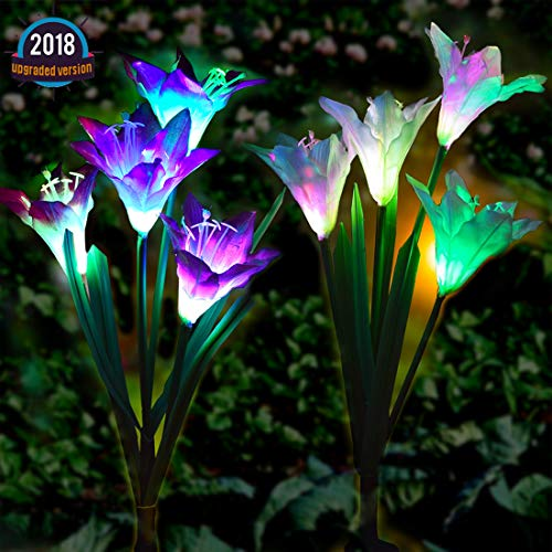 Semaco Solar Lights Outdoor New Upgraded Solar Garden Lights, Multi-Color Changing Lily Solar Flower Lights for Patio,Yard Decoration, Bigger Flower and Wider Solar Panel(Purple and White) by Semaco