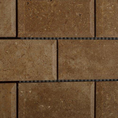 Noche Travertine Molding (Noce / Noche Travertine 2 X 4 Beveled Brick Mosaic Tile - 6