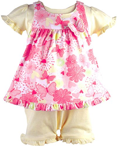 Sweetheart Jumper (Le Top *Sweetheart Butterfly* Yellow Romper & Pink Print Jumper 3m)