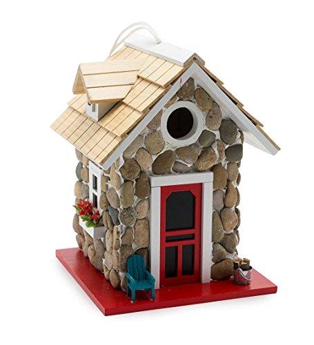 Plow & Hearth Hanging Wooden Stone Cottage Songbird Birdhouse 7 sq. x 9.5 H ()