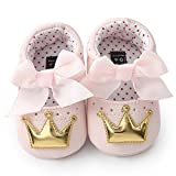 jieGREAT for 0-18 Months Babys Kids Shoes ~Newborn Infant Baby Girl Crown Princess Shoes Soft Sole Anti-Slip Sneakers (0-6 Months, Silver)