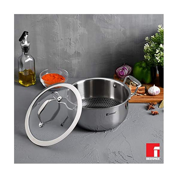 Bergner-Hitech-Prism-Non-Stick-Stainless-Steel-Casserole-with-Glass-Lid-20-cm-31-Litres-Induction-Base-Silver