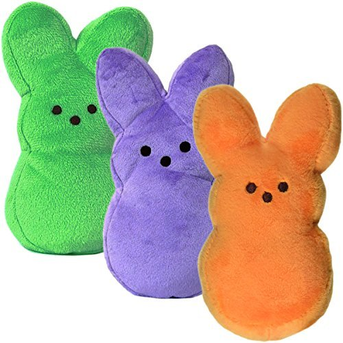 "Set of 3 Plush 9"" Peeps Bunnies Cute Bunny Rabbits Soft Stuffed Animals Toys Easter Basket Filler (Peeps Bunny)"
