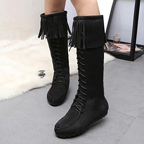 Femmes Bottes, Hatop Womens Bottes Dhiver Gland Bottes Chaudes Mi-mollet Bottes Chaudes Chaussures Dhiver Noir