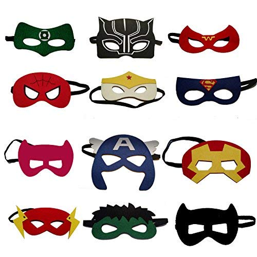 VANVENE Superhero Party Masks for Kids | Includes a new Super Hero Mask | 12 Piece Super heroes Comics Masks are Great for Party Favors & Giveaways for Boys & Girls]()