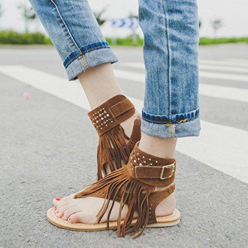 SHODBW Zapatos Planos De Bohemia De La Manera De Las Mujeres De La Sandalia Marrón