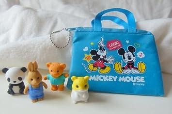 Iwako panda, conejo, oso de peluche y hámster Borradores japoneses con azul pequeña bolsa