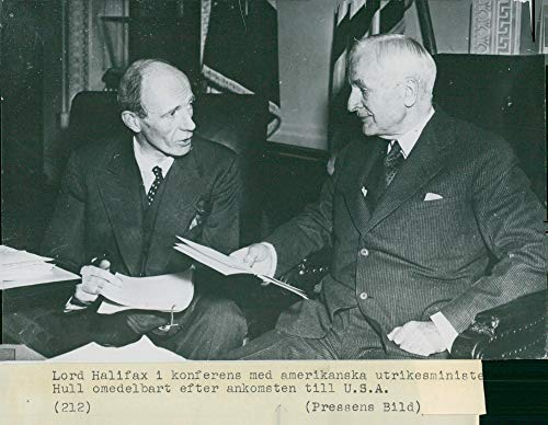 Vintage photo of First shot taken at Halifax in America. Lord Halifax and US Secretary of State (Hull First Star)