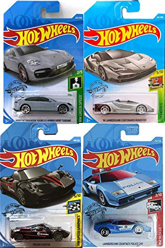 Hot Wheels Lambo Roadster Centario Bundled with 4 Exotics Lamborghin/ Green Speed /Graphics / Panamera Turbo S Hybrid Porsch / 911 Police Countach Blue & Pagani Huayra Die-Cast Car Bundle